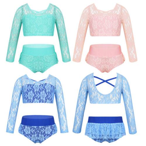 Shorts Ballett Tanz Yoga Fitness Sets Mädchen Sport Outfits Langarm Crop Top