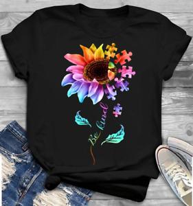 Autism Awareness Sunflower Be Kind Kindness Men Women T Shirt Cotton Black