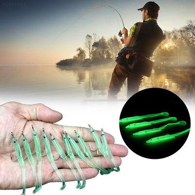 10xPractical Glow Luminous Eel Fishing Lures Rubber Worm Bass Crank Bait Fishing