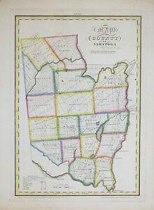 Saratoga New York Map.1829 Burr Map Of Saratoga County New York Original Ebay