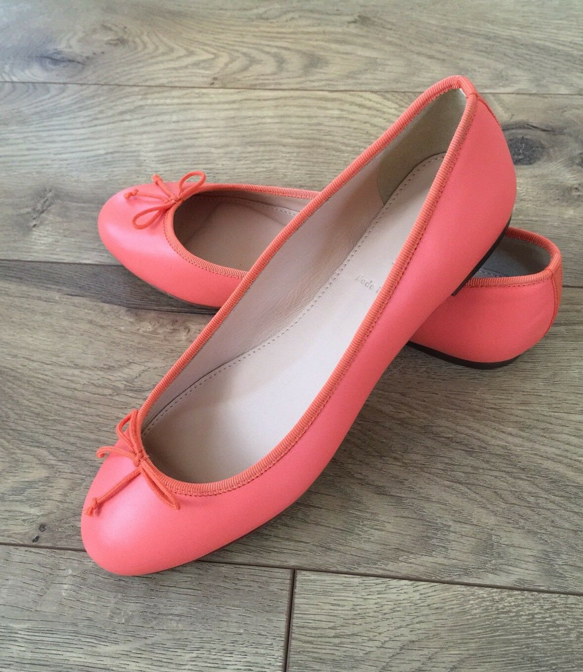 NEW JCrew  148 Camille Ballet Flats in Leather Size 6 Sweet orange G0974
