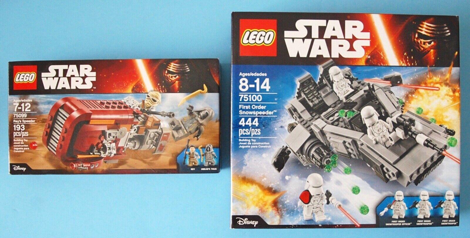 Lego Star Wars 75100 First Order Snowspeeder 75099 Reys Speeder NIB