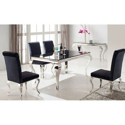 LOUIS BLACK TEMPERED GLASS TOP DINING TABLE, STAINLESS STEEL - 6 CHAIRS  - 160cm