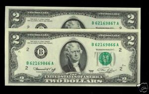 TWO-2-CONSEC-1976-BiCentennial-2-GEM-CU-U-S-FRN-BRAND-NEW-YET-40-YEARS-OLD