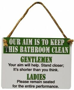 bathroom clean mini hanging metal wall sign novelty joke humour gift