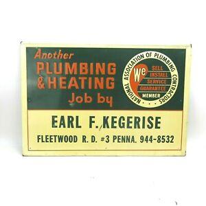 Antique Plumbing/Heating Metal Sign Advertising Porcelain PHCC Pennsylvania VTG
