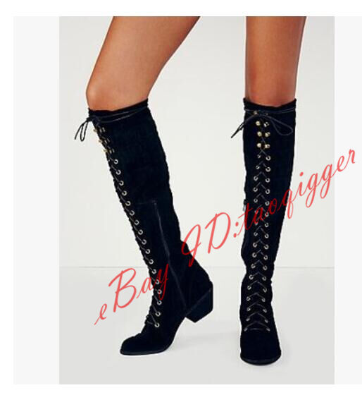 RETRO WOMENS SHEEP LEATHER SUEDE LOW HEEL OVER KNEE KNEE KNEE HIGH BOOTS LACE UP BOOTS NEW ad3819
