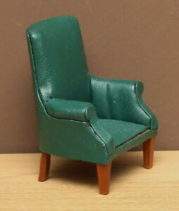 1:12 Dolls House Green leather chair