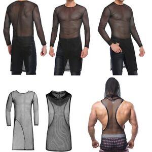 9e34874d Men Sexy See-through Mesh Tank Top T-Shirt Long Sleeves Tank ...