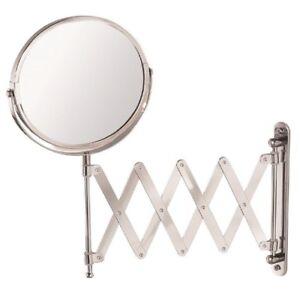 Wall-Mounted-Chrome-Round-Extendable-Shaving-Vanity-Mirror-18cm-dia-Mundo