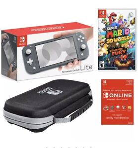Nintendo Switch Lite Gray Bundle with Super Mario 3D World & Bowser's Fury Game