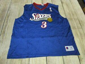 urok kosztów wyprzedaż ze zniżką taniej Details about RARE VTG Champion Authentic Allen Iverson Philadelphia 76ers  Blue Jersey XL 48
