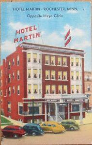 Rochester-MN-1940s-Linen-Postcard-Hotel-Martin-Minnesota-Minn
