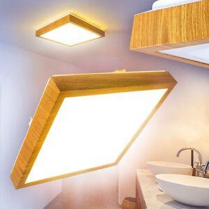 Details zu LED Deckenlampe Badezimmer Holzoptik Eckig Feuchtraum Leuchte  Quadrat Lampe IP44