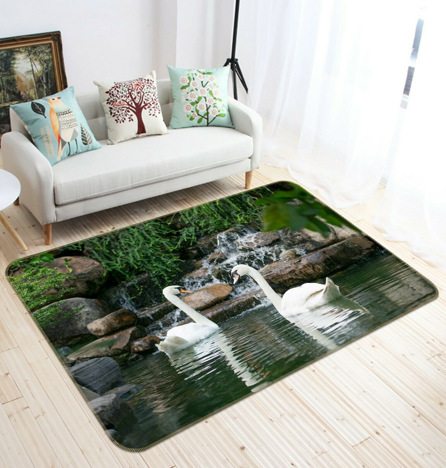 3D Waterfall Lake Swan C23 Animal Non Slip Rug Mat Elegant Photo Carpet Zoe