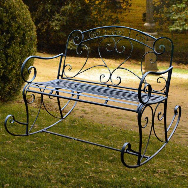 Vintage Stil Schaukel Bank Garten Stuhl Sitz Gelegenheit Aussen Mobel Schwarz Ebay