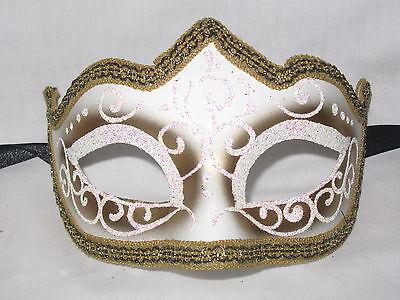 White Blank Venetian Masquerade Mask with Glitters Phantom of the Opera