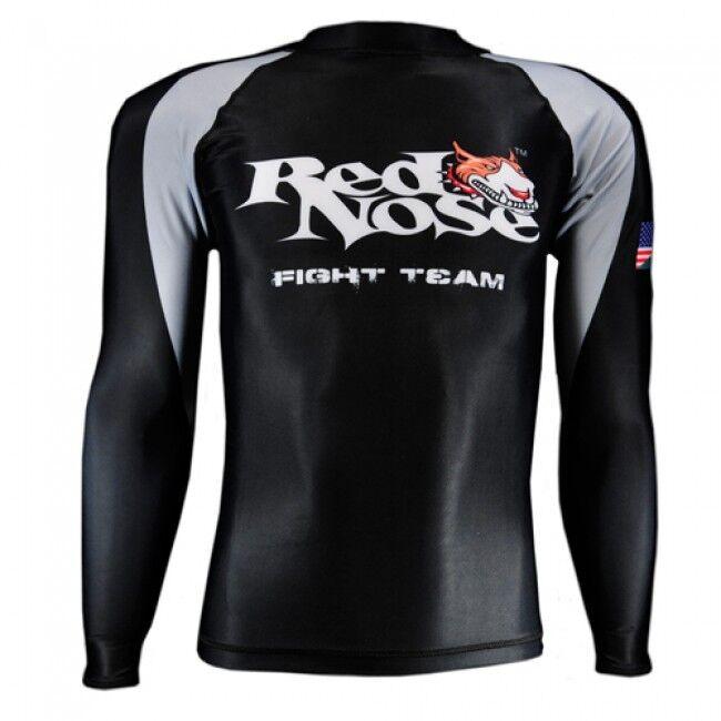 NEW Red Nose Jiu-Jitsu Long Sleeve Rashguard Fight Team MMA Compression Shirt