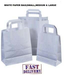 All Size Carrier Bags - Kraft Paper Gift Bag Flat Handles - Recyclable WHITE