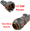 "Flexible Connector WITH Isolating Valve 15mm x 1//2/"" Push Fit Brass Pushfit End"