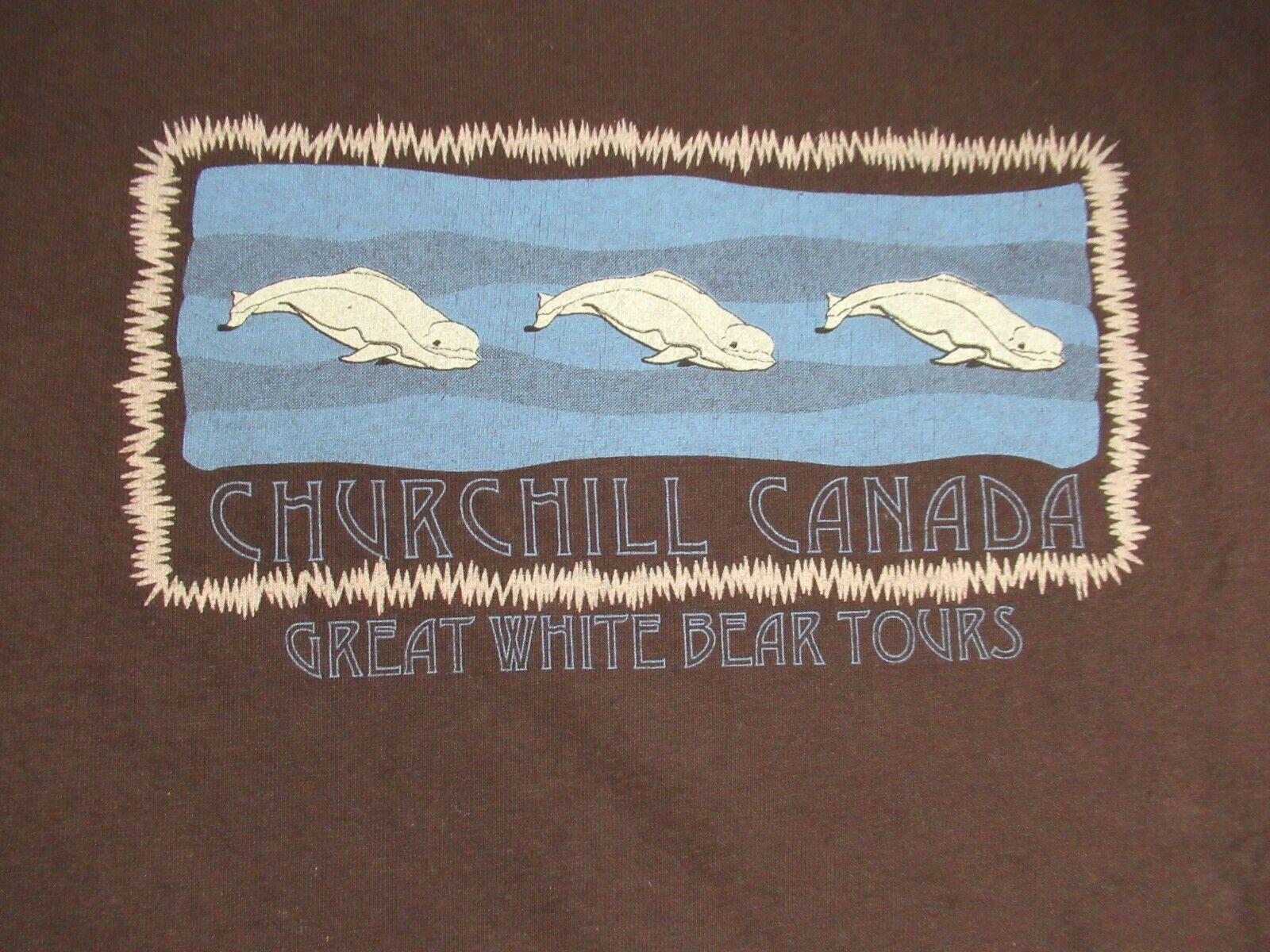 CHURCHILL CANADA - GREAT WHITE BEAR TOURS - BROWN XL T-SHIRT F1283