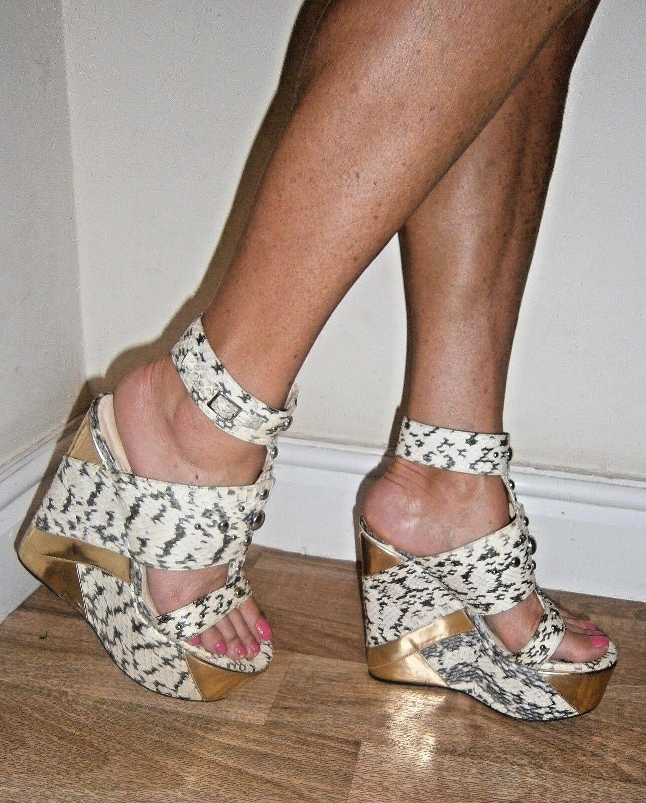 Jimmy Choo Luxury Designer Snakeskin Wedges Size UK 6