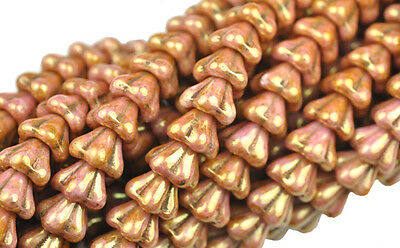 10 Rose Gold Luster Bell Flower Czech Glass Beads 8MM