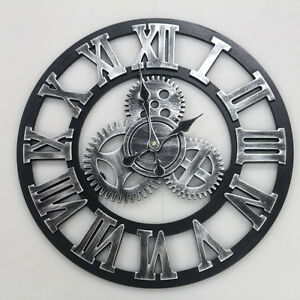 45cm vintage wanduhr quarzuhr metall r mische zahlen uhr zahnrad design silber ebay. Black Bedroom Furniture Sets. Home Design Ideas