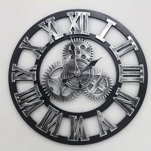 Das Bild Wird Geladen 45cm Vintage Wanduhr Quarzuhr Metall Roemische Zahlen Uhr