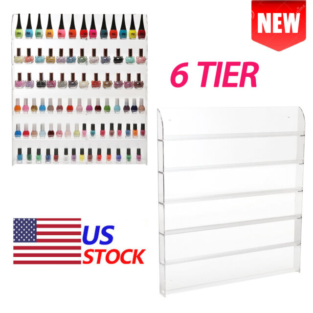 6 Tier Clear Acrylic Nail Polish Rack Wall Mount Stand Organizer ...