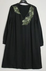 New-Marks-amp-Spencer-Long-sleeve-Embroidered-Tunic-Dress-Size-6-20-Black
