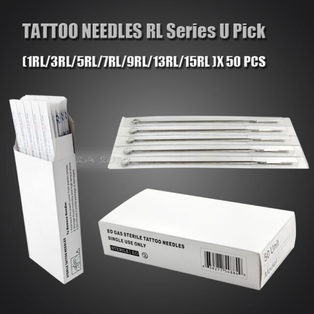 50pcs Disposable Steel Sterile Tattoo RL Pro. Needles Machine Tips Supplies New