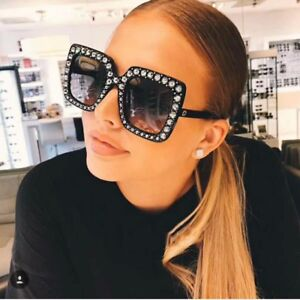 6fd4075b3f9c Image is loading Luxury-Ladies-Oversized-Square-Sunglasses-Women-Bling-Frame -