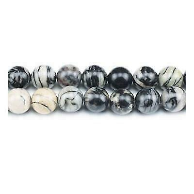 Pcs Gemstones DIY Jewellery Making Veined Jasper Round Beads 6mm Grey//Black 60