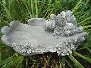 "birds in garden glove latex w plastic backup concrete plaster mold 9"" x 5"""