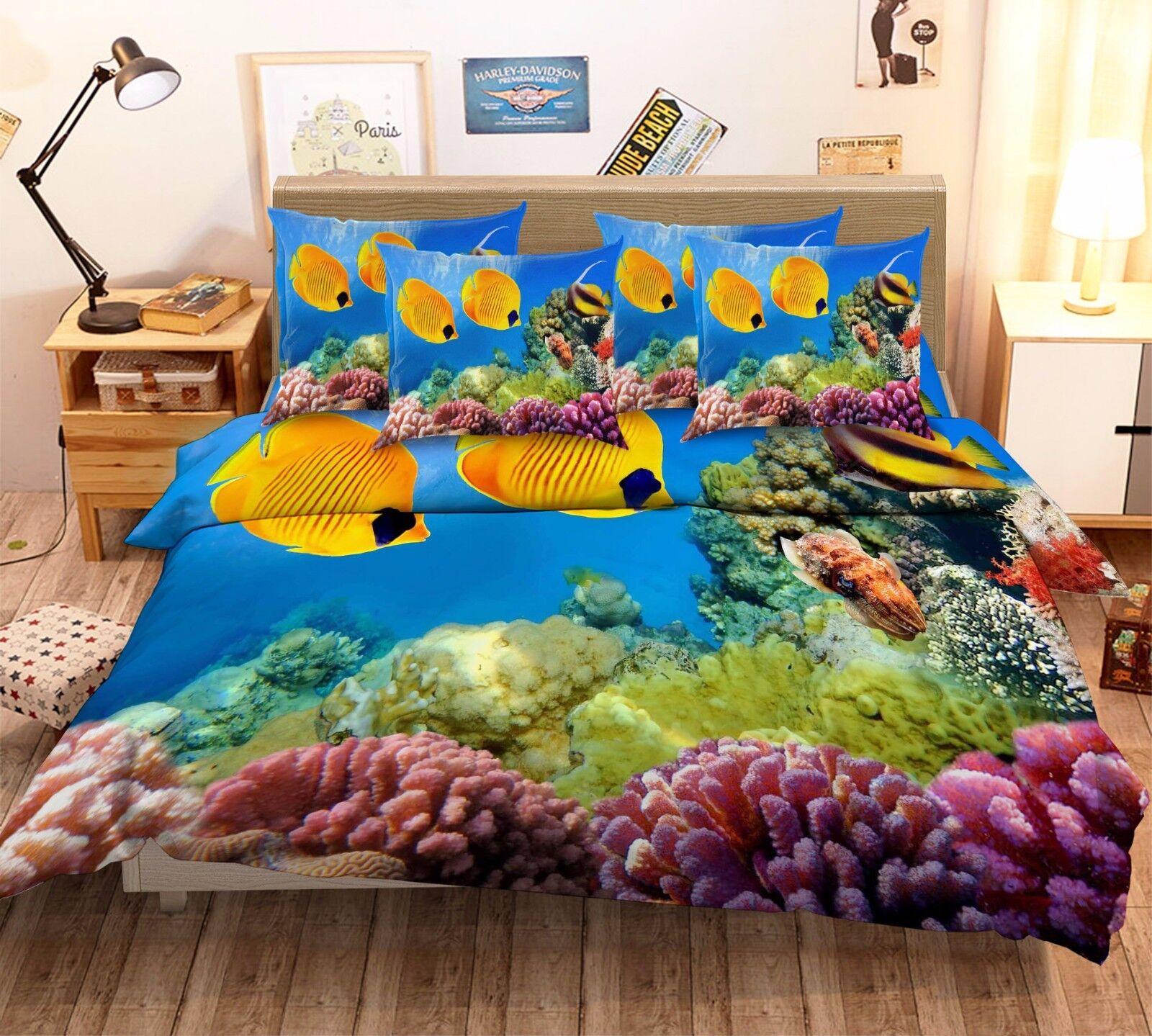 3D golden Fish Coral 7 Bed Pillowcases Quilt Duvet Cover Set Single Queen AU