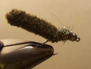 Fly Fishing Flies 12 Beaded Dust Mop Fly Black color size 10 Barbless Jig