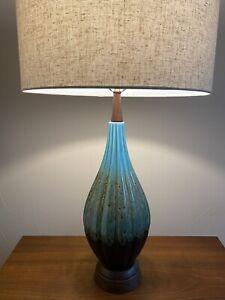 Turquoise-Drip-Glaze-Vintage-Mid-Century-Ceramic-Lamp-With-Walnut-Neck-MCM