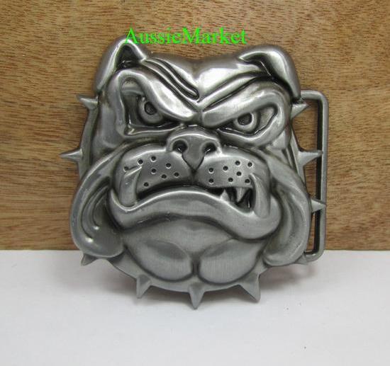 1 x mens belt buckle metal alloy jeans afl bulldog dog leash bikie british uk