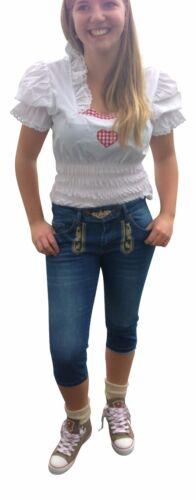 Damen Trachtenjeans Jeans Trachtenhose Vegan Blau Stonewashed Lederhosen Optik
