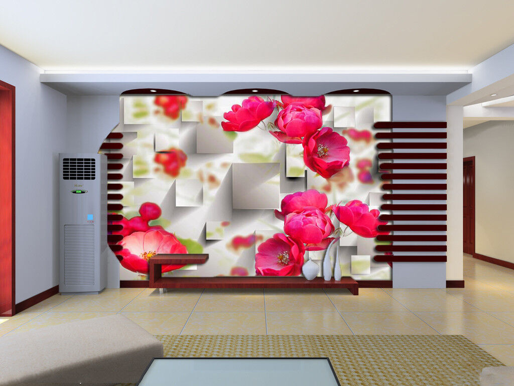 3D  rot Flower Plant 8 Wallpaper Mural Wall Print Wall Wallpaper Murals US Carly