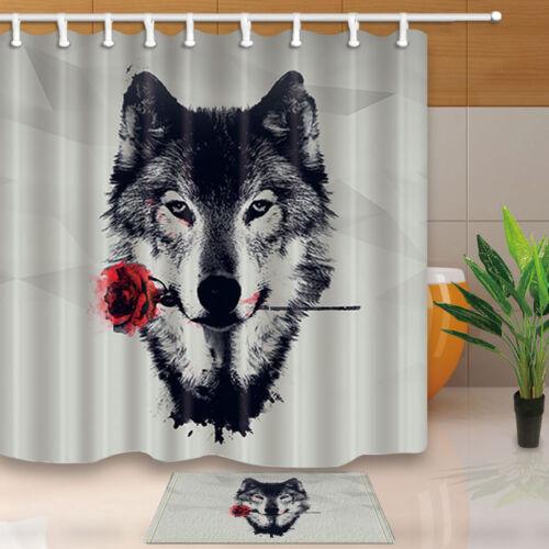 Watercolor Wolf Wild Animal Roses Decor Waterproof Shower Curtain Rugs Set/&Hooks
