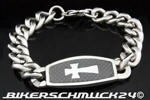 Biker-Armband-Panzerkette-Edelstahl-Kreuz-auf-Carbon-Herren-Schmuck-Geschenk-NEU