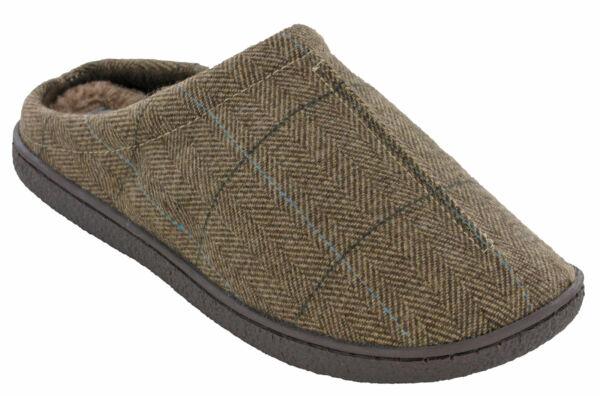 100% De Calidad Hombre Zapatos Sin Talón Piel Zapatillas Tweed Marrón Forro Cálido Cushion Walk