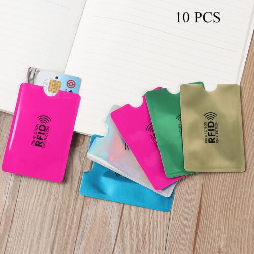 10Pcs//Set Metal Anti RFID Blocking Reader Lock Card Holder Protection Aluminium