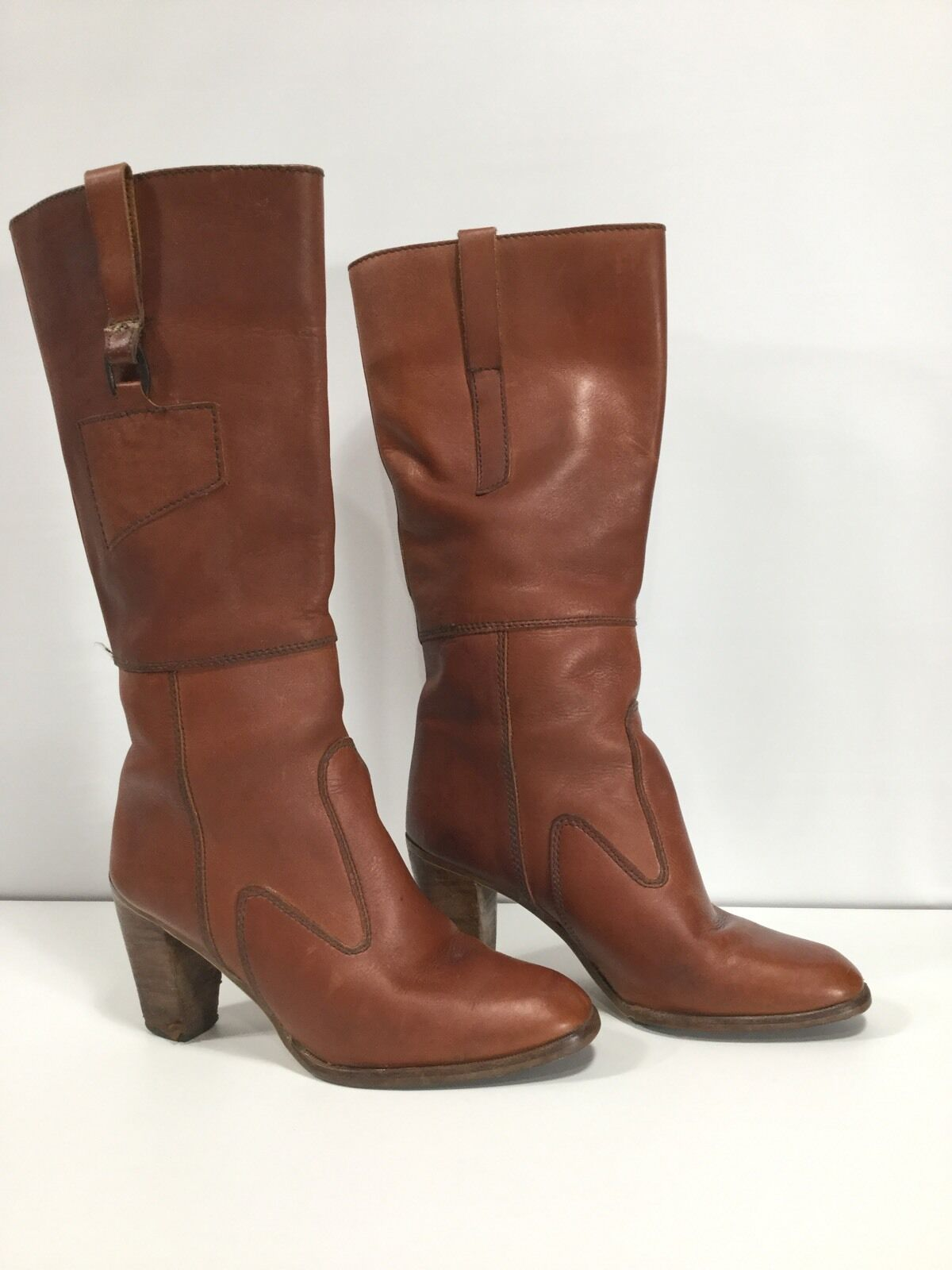 VINTAGE Caramel Leather Knee High Harness Campus Boots Uruguay 8.5 M