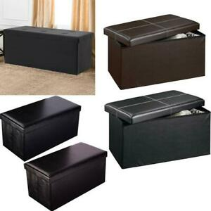 Storage Ottoman Coffee Bench Living Room Home Decor Faux Leather Foot Stool