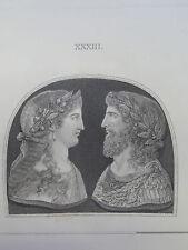 RARE Bartolozzi Cipriani Incisione dopo 1785 Gemmarum ANTIQUARUM delectus