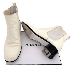 Chanel-Authentic-CC-Logo-Vintage-90s-White-Patent-Ankle-Boots-Square-Toe-39-US-8
