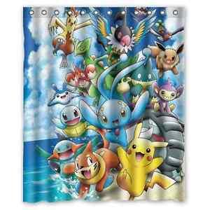 Image Is Loading Custom New Pokemon Waterproof Bathroom Shower Curtain 60